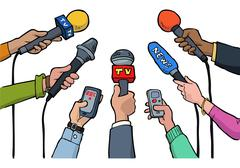 Cartoon media interview Stock Illustration