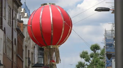 Chinese lantern hanging on a street in London Stock Footage