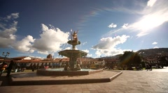 Cuzco-2014-Plaza-Brunnen-Tag-03-red Stock Footage