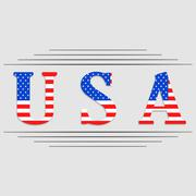USA letters with united states flag - stock illustration