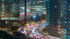 Top view of busy traffic night in finance urban timelapse, hong kong city Stock Footage