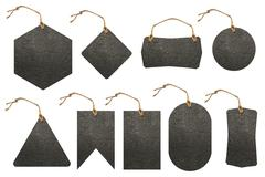 Set of leather tag Stock Photos