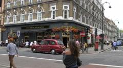 People walking by the Jack Horner Pub in London - stock footage