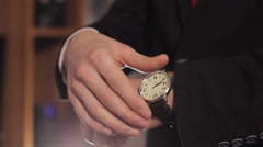 Clock man businessman Stock Footage