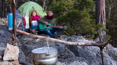 Couple  hiking outdoors at romantic place in mountain 6 Stock Footage