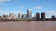Richmond, Virginia's Skyline Above Flooded James River - stock footage