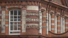 University College London name sign on building Stock Footage