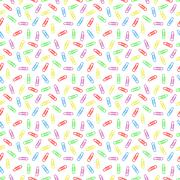 Seamless pattern of multi colored paper clips - stock illustration