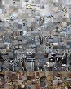 Stock Illustration of GREY patchwork photomontage background
