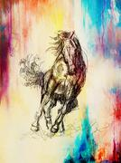 Draw pencil horse on old paper, vintage paper and old structure with color spots Stock Illustration