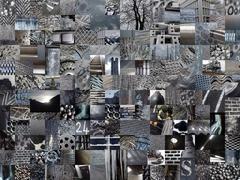 DARK GREY patchwork photomontage background Stock Illustration