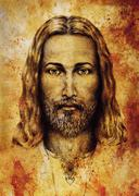 Pencils drawing of Jesus on vintage paper. with ornament on clothing. Old sepia Stock Illustration