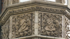 Waterstones Gower Street bas reliefs in London Stock Footage