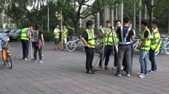 Asian engineering students, higher education, measuring, Taiwan university - stock footage