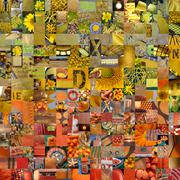 YELLOW ORANGE patchwork photomontage background - stock illustration