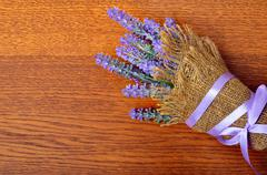 Bouquet of lavender in sack . - stock photo
