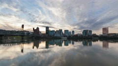 Timelapse of Clouds and Water Reflection along Willamette River in Portland OR Stock Footage