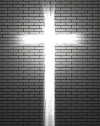 Lights in the shape of a Christian cross - stock photo
