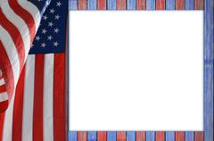 Patriotic table with US flag. - stock photo