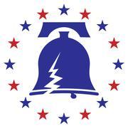 Cracked Liberty Bell Stars - stock illustration