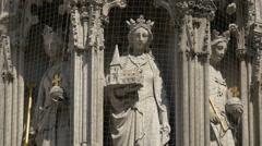 The Eleonor Cross replica's statues in London Stock Footage