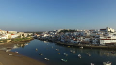 Aerial from the village Ferragudo in the Algarve Portugal Stock Footage