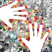two white hands on images patchwork - stock illustration