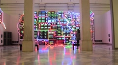 Electronic Super Gallery in American Museum of the Art Stock Footage