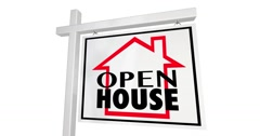 Open House Home for Sale Sign Real Estate 4K - stock footage