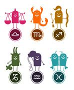 six zodiac cartoon signs - stock illustration