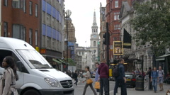 St Martin-in-the-Fields seen from St Martin's Lane in London Stock Footage