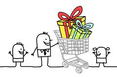 shopping cart with gifts - stock illustration