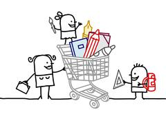 Shopping cart with school supplies Stock Illustration