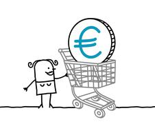 woman and euro in a shopping cart - stock illustration