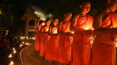 Magha puja day, Monks light the candle for buddha, Chiangmai,Thailand Stock Footage