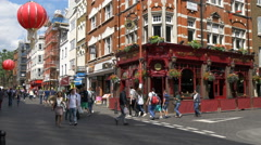 Tourists walking near Waxy's Little Sister pub in London - stock footage