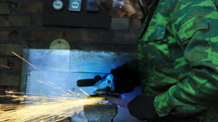 Man Working With Angle Grinder. Stock Footage