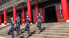 Taiwanese soldiers take part in guard changing ceremony in Taipei Stock Footage