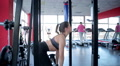 Atmosphere at sports club, professional and amateur sportswomen training in gym Footage