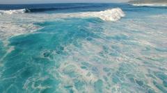 Flight over of big waves in ocean - Hawaii Stock Footage