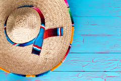 Colorful wide brimmed straw sombrero Stock Photos