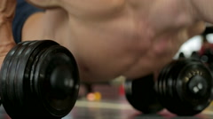 Stock Video Footage of Muscular bodybuilder working hard in gym, exercising thoroughly before contest