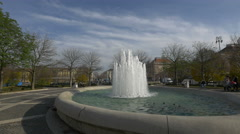 Beautiful view of water gushing from a fountain in park Zrinjevac, Zagreb - stock footage