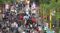 Taipei popular shopping street, entertainment, crowd, commercial, Taiwan Stock Footage