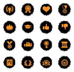 Trophy and prize icon set - stock illustration