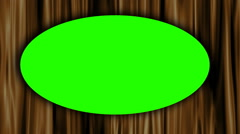Green screen ellipse on golden curtain background Stock Footage