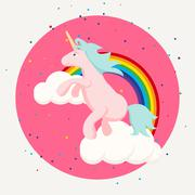 Cute happy unicorn and rainbow clouds tshirt design Stock Illustration