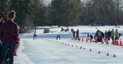 Speed Skating sprint race at Hawrelak Park in Edmonton, Canada. Stock Footage