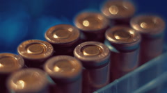 Boxing with the rows of new, not shooting bullet caliber 9mm. Closeup - stock footage