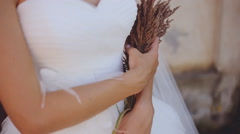 the bride with wild flowers slow mo - stock footage